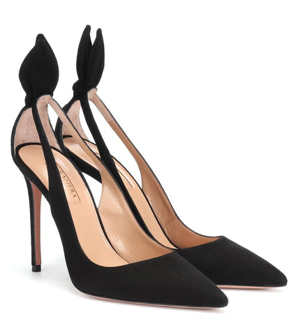 AQUAZZURA DENEUVE 105 BLACK PUMP CLEAR POINTED TOE STILETTO