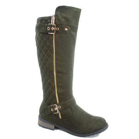 Forever Link Mango-23 Suede Zip Two Buckles Riding Olive Green Knee HIgh Boots