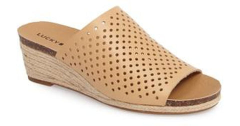 Lucky Brand Jemya Glazed Leather Perforated Open Toe Low Wedge Perforated Mule