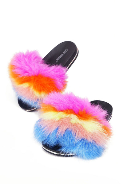 Cape Robbin CASINO Pink Multi Color Flat slip-ons Sandals Furry Mule Slide