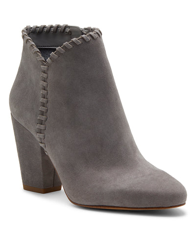 1.State MYLO Light Grey Suede Block Heel Round Toe Designer Ankle Booties