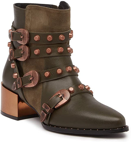 Ivy Kirzhner Circuit Strappy Rose Gold Stud Boot Military Green Leather Buckle