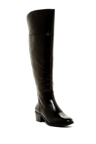 Vince Camuto Bendra Black Leather Over-the-Knee Round toe Split Shaft Boot