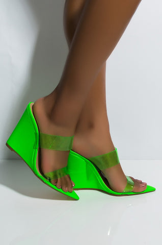 Lemon Drop Privileged Demille Neon Green High Wedge Open Clear Strap Mule Sandal