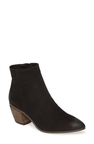 Vince Camuto Grasem Black Oiled Suede Block Heel Pointed Western Ankle Bootie
