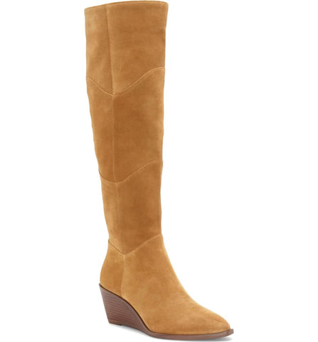 1.State Kern Marigold Tan Suede Knee High Low Wedge Pointed Toe Dress Boots