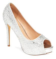 Lauren Lorraine Candy 6 Silver Glistening Peep Toe Stiletto Heeled Sandals