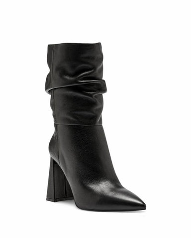 Vince Camuto AMBIE Black Leather Slouch Pointed Boot Mid Calf Booties