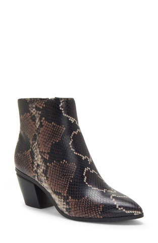 Vince Camuto Grasem Mauve Snake Block Heel Pointed Toe Western Boot