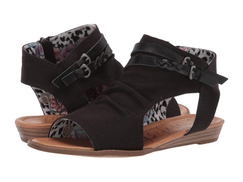 Blowfish Blumoon Open Toe Buckle Closure Sandal Blk Rancher Canvas/Dyecut PU (6, Blk Rancher Canvas/Dyecut PU)