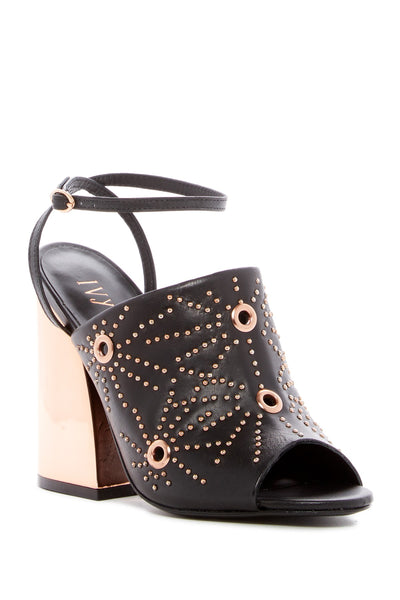 Ivy Kirzhner Epoque Black Peep-toe Mule mirrored block heel Studded Ankle Bootie