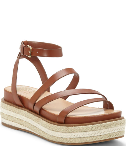 Vince Camuto Aevie Leather Strappy Platform Espadrille Sandals Rich Cognac