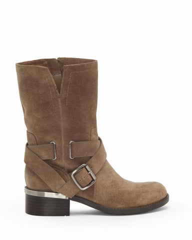 VINCE CAMUTO Women's Wethima Leather Block Heel Moto Boots TUSCAN TAUPE