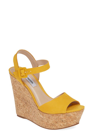 Steve Madden Women's Citrus-C Wedge Sandal Yellow Suede Cork Open Toe Platform
