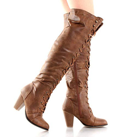 Forever Camila-48 Tan Chunky Heel Lace Up Over The Knee High Riding Boots