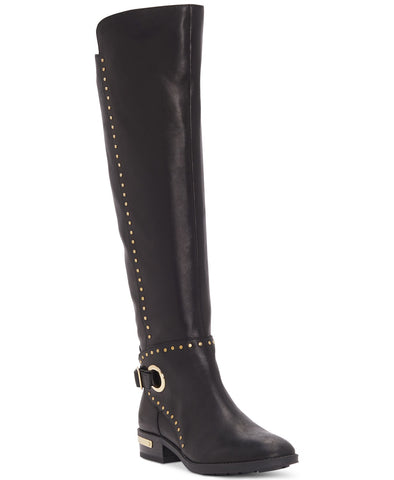Vince Camuto Poppidal Tall Knee High Stretch Riding Boots Black Leather
