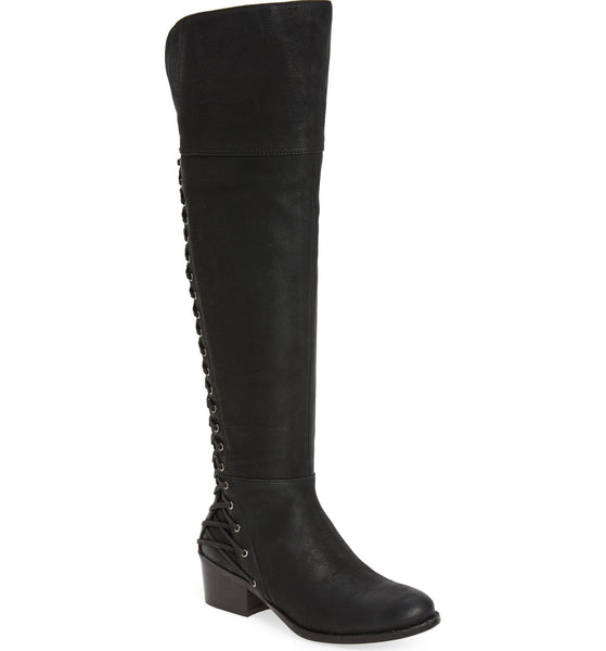 Vince Camuto Bolina Black Leather Over the Knee Fitted Riding Kochelda Boot