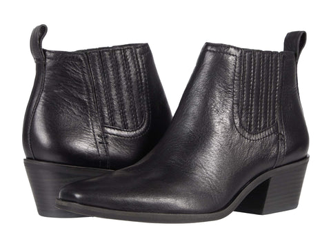 Lucky Brand Idola Pull On Block Heeled Ankle Bootie Leather Leather Western Chelsea