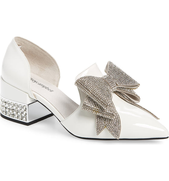 Jeffery Campbell Valenti White Silver Patent Bow Metallic Heel Loafer