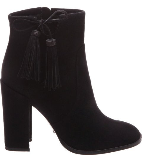 Schutz Women's Bishop Black Suede Stacked Heel Ankle Tasseled Ankle Boots