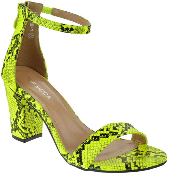 Top Moda HAnnah-1 Ankle Strap High Heel Sandal, Yellow Snake Two Peice Pump