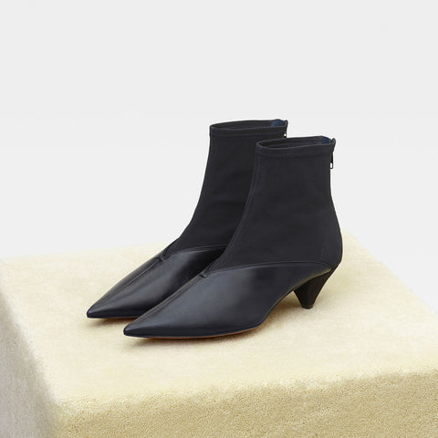 CELINE Leather Kitten Heels Elegant Style Pointed Toe Ankle Booties