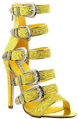 Cape Robbin Yuki Yellow Glitter Multistrap Buckle Sexy High Single Sole Sandal
