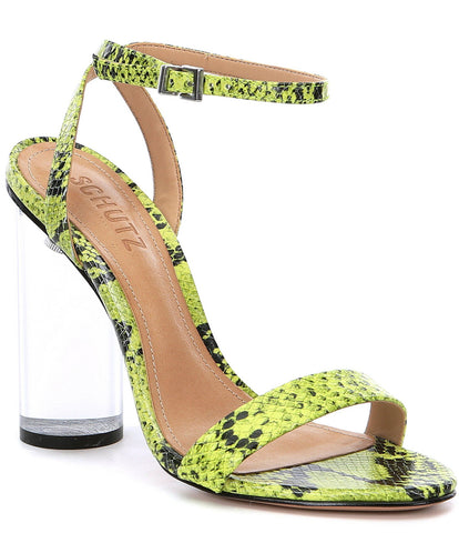 Schutz Valencia Open Toe Ankle Strap Block Clear Heeled Sandals Neon Yellow