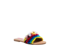 Betsey Johnson Verra Bright Multi Flowery Beaded Rainbow Heeled Slide Sandals