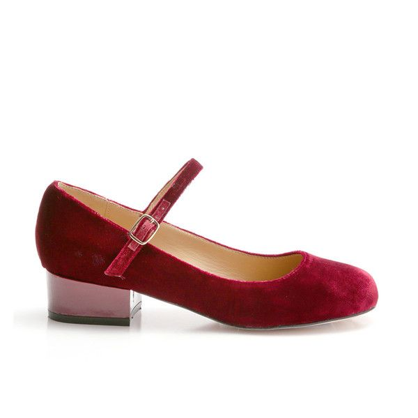 Cecelia New York Dion Burgundy Velvet Low Heel Retro Embossed Mary-Jane