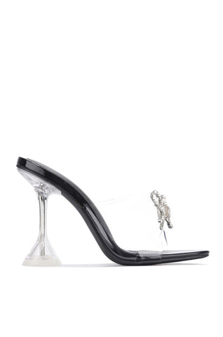Cape Robbin Black Bad Guy Black Crystal Clear Open Toe High Heel Mule Pumps