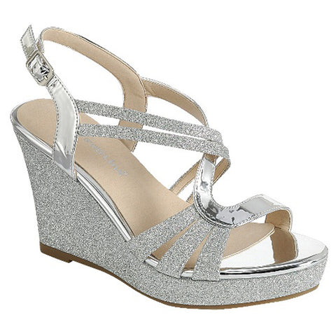 Forever FQ22  Glitter Strappy Wrapped Wedge Heel Platform Sandals Silver Glitter