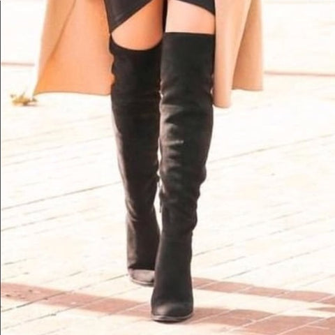Vince Camuto CHEERA Fitted Stretch Suede Over the Knee High Boot BLACK