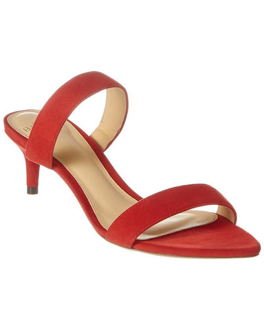 Alexandre Birman Suede Mule Sandal Low Kitten Heel Red Suede Pumps