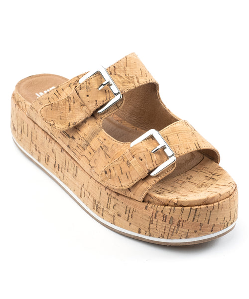 Jane and the Shoe Jordan Cork Platform Flatform Wedge Buckle Mule Sandals