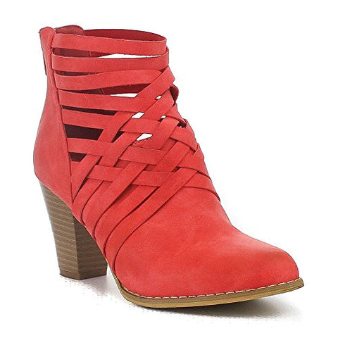 MI.IM URBAN-05 Women's Comfy Cut Out Back Zip Chunky Dress Ankle Bootie, Color:RED, Size:8