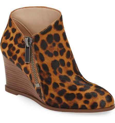 1.State Kaleb Wedge Brown Multi Leopard Ankle Bootie Mid Wedge Designer Boot