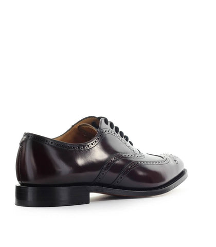 Churches Polished Oxford Shoes Burgundy Leather Lace Up Wintip