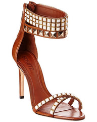 Schutz Wood Leather High Heel Stiletto Studded Strappy Ankle Cuff Sandals