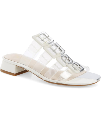 Cecelia New York Lincoln Slide Sanda Silver White Slip On Clear Transparent Mule