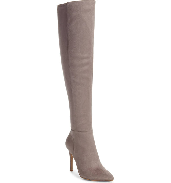 Charles by David Debutante TAUPE Thigh High Fitted Dress Boot