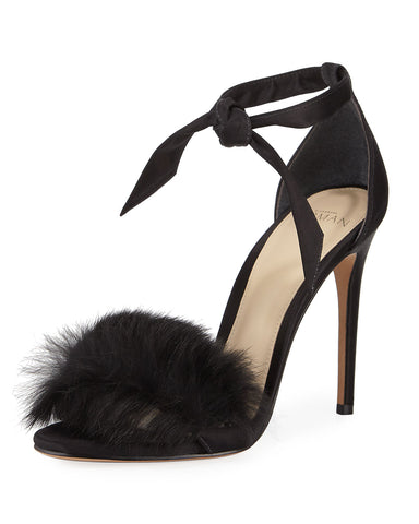 Alexandre Birman Clarita Rabbit Fur Sandal Black Satin HIgh Formal Tie Up Pumps