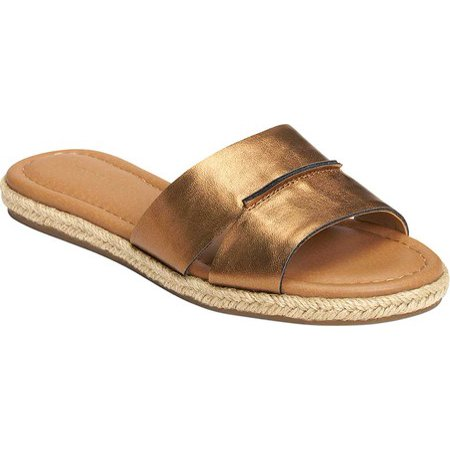 Aerosoles Women's Back Drop Flat Sandal Bronze Metallic Slip on Slide Mule