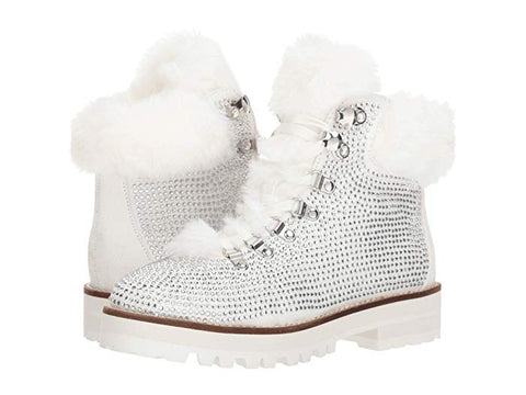 Jessica Simpson Norina Fashion Boot White Rhinestone Lace Up Ankle Bootie