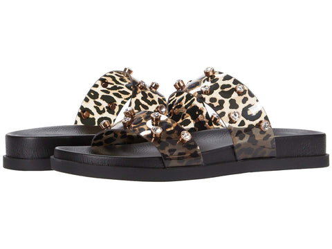 Vince Camuto Women's Partha Leopard Print Jeweled Slide Sandals NATURAL MULTI