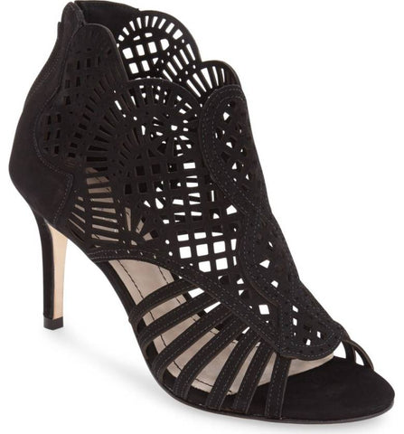 KLUB NICO Mirelle Black Suede Cutout Bootie Single Sole Mid Heel Open Toe Pump
