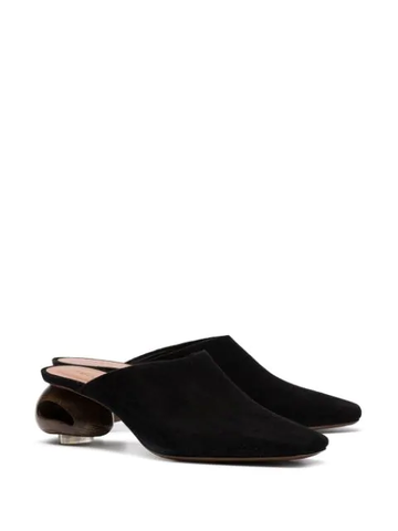 NEOUS Black Suede Mules Low Block Heel Pointed Toe Slip On pumps
