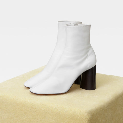CELINE | Plain Toe Casual Style Plain White Leather Block Heels