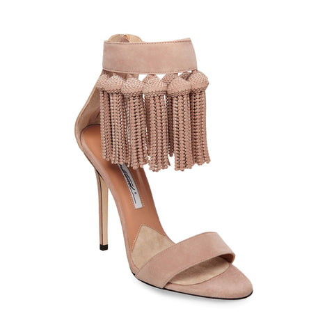 Brian Atwood Pepper Cappucino Nude Dangling Fringe Open Toe High Heel Sandals