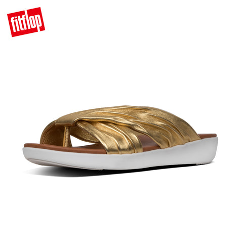 FitFlop Women's Twine Toe Slip on Slide Post Sandal Gold